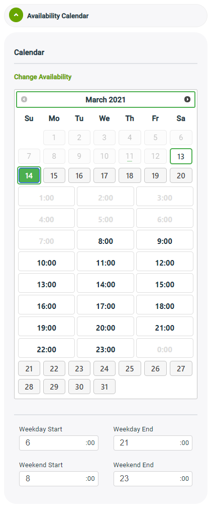 Availability Calendar Widget